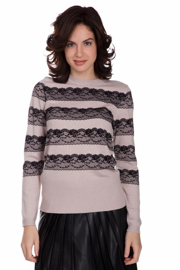Пуловер PezzoПуловеры<br>Нарядный женский пуловер от бренда Pezzo бежевого цвета с черными элементами. Данное изделие состоит из вискозы и нейлона. Эту модель можно носить осенью или весной. Пуловер свободного кроя. Украшен горизонтальными кружевными узорами. Отличная идея для праздничного мероприятия. Идеально смотрится с широкими юбками.<br><br>Размер RU: 42<br>Пол: Женский<br>Возраст: Взрослый<br>Материал: вискоза 80%, нейлон 20%<br>Цвет: Чёрный