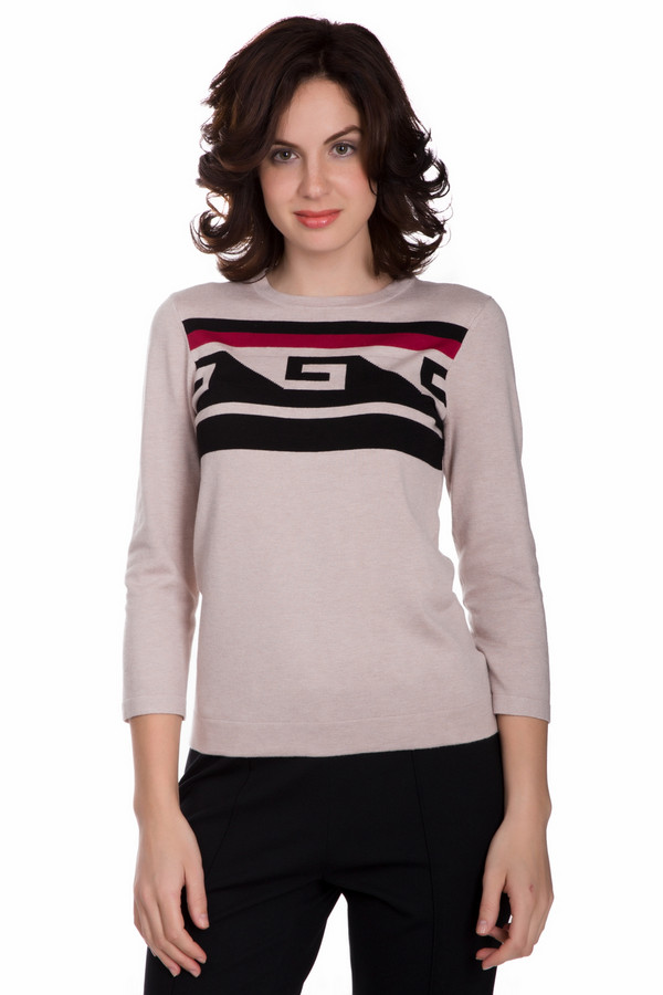 Пуловер PezzoПуловеры<br>Практичный женский пуловер от бренда Pezzo бежевого цвета с черными и красными элементами. Это изделие состоит из вискозы и нейлона. Данная модель создана для осени или весны. Пуловер не облегает фигуру. Дополнен оригинальным орнаментом. Рукава немного укорочены. Добавит простому образу красок и оригинальности.<br><br>Размер RU: 50<br>Пол: Женский<br>Возраст: Взрослый<br>Материал: вискоза 80%, нейлон 20%<br>Цвет: Разноцветный
