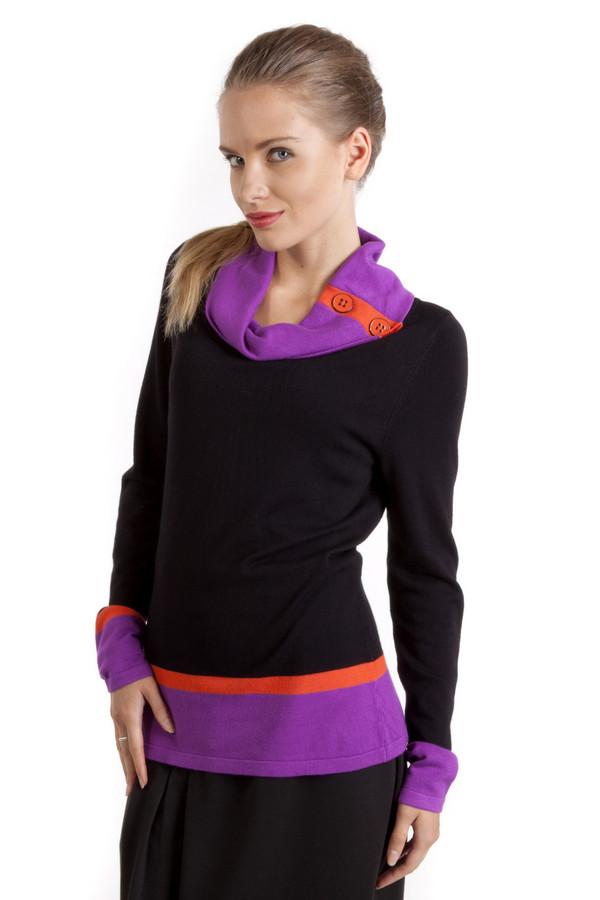Пуловер PezzoПуловеры<br>Оригинальный черный пуловер Pezzo прямого кроя. Изделие дополнено воротником-хомут декорированный яркой фурнитурой. Ворот, манжеты и нижний кант оформлены яркими фиолетовыми и оранжевыми горизонтальными полосками.<br><br>Размер RU: 44<br>Пол: Женский<br>Возраст: Взрослый<br>Материал: вискоза 82%, нейлон 18%<br>Цвет: Разноцветный