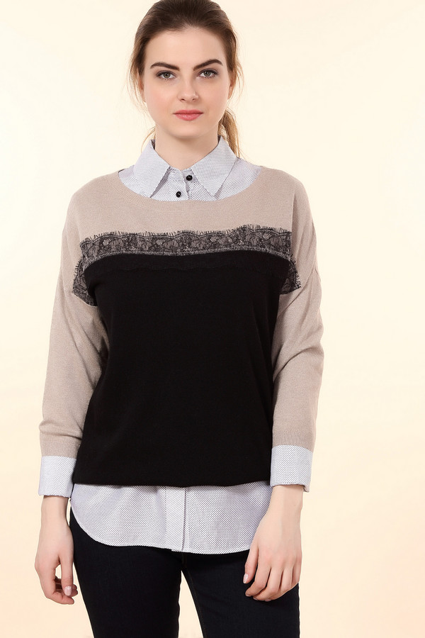 Пуловер PezzoПуловеры<br>Стильный женский пуловер от бренда Pezzo бежевого цвета с черными деталями. Данная модель состоит из вискозы, полиамида, шерсти, кашемира и хлопка. Такую вещь можно носить осенью и весной. Пуловер не облегает фигуру. Низ выполнен в черном цвете, рукава и ворот - в розовом. Украшен кружевной вставкой.<br><br>Размер RU: 52<br>Пол: Женский<br>Возраст: Взрослый<br>Материал: вискоза 33%, полиамид 23%, шерсть 20%, хлопок 20%, кашемир 4%<br>Цвет: Чёрный