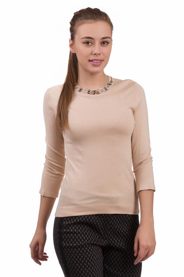 Пуловер PezzoПуловеры<br>Кокетливый женский пуловер Pezzo бежевого цвета. Модель изготовлена из вискозы и нейлона. Отлично подходит для носки весной или осенью. Пуловер притален, длина рукава - три четверти, горловина с небольшим вырезом. Горловина декорирована оранжевыми и серебристыми стразами. Хорошо будет сочетаться как с разнообразными брюками, так и с юбками.<br><br>Размер RU: 42<br>Пол: Женский<br>Возраст: Взрослый<br>Материал: вискоза 70%, нейлон 30%<br>Цвет: Бежевый