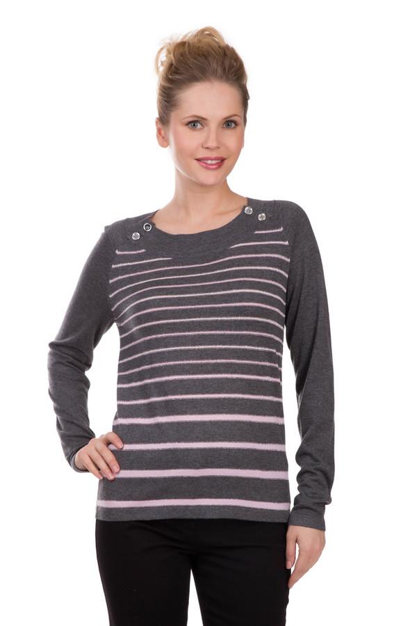 Пуловер PezzoПуловеры<br>Нежный женский пуловер Pezzo, сочетающий серый и розовый цвет. Модель изготовлена из вискозы и нейлона. Весной или осенью этот пуловер станет отличным выбором. Он спереди декорирован горизонтальными розовыми линиями на сером фоне. С двух сторон на горловине нашиты четыре крупные прозрачные пуговицы.<br><br>Размер RU: 44<br>Пол: Женский<br>Возраст: Взрослый<br>Материал: вискоза 70%, нейлон 30%<br>Цвет: Разноцветный