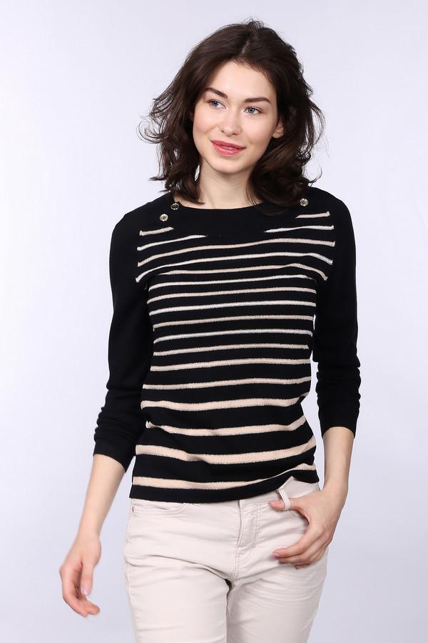 Пуловер PezzoПуловеры<br>Изысканный женский пуловер Pezzo, сочетающий черный и бежевый цвет. Изделие состоит из вискозы и нейлона. Весной или осенью такой вид одежды станет лучшим решением. Сзади пуловер однотонный, а спереди украшен декоративными розовыми горизонтальными линиями. На ключицах нашиты четыре крупные прозрачные розовые пуговицы.<br><br>Размер RU: 52<br>Пол: Женский<br>Возраст: Взрослый<br>Материал: вискоза 70%, нейлон 30%<br>Цвет: Бежевый