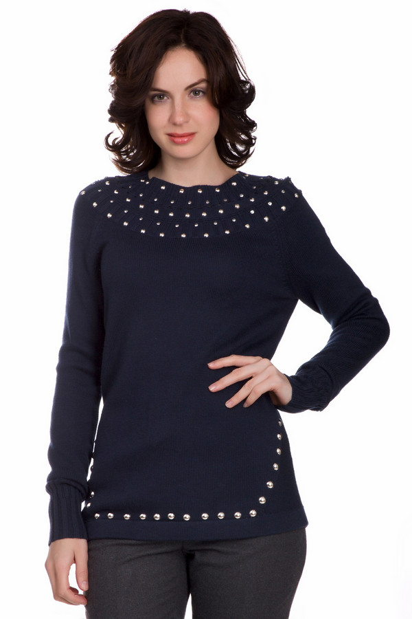 Пуловер TuzziПуловеры<br>Стильный женский пуловер Tuzzi синего цвета. Это изделие состоит из хлопка, кашемира, шерсти и вискозы. Данная модель предназначена для осени или весны. Пуловер свободного кроя. Дополнен резинками на рукавах и металлическими кнопками. Отличный вариант для повседневного образа. Можно носить с джинсами и брюками любого фасона.<br><br>Размер RU: 44<br>Пол: Женский<br>Возраст: Взрослый<br>Материал: кашемир 5%, хлопок 40%, шерсть 15%, вискоза 40%<br>Цвет: Синий