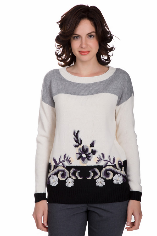 Пуловер PezzoПуловеры<br>Универсальный женский пуловер от бренда Pezzo белого цвета с серыми, бежевыми, сиреневыми и фиолетовыми элементами. Это изделие состоит из шерсти и акрила. Данная модель предназначена для осеннего и весеннего сезона. Пуловер свободного кроя. Дополнен цветным орнаментом. Практичное и стильное решение на каждый день.<br><br>Размер RU: 52<br>Пол: Женский<br>Возраст: Взрослый<br>Материал: шерсть 15%, акрил 85%<br>Цвет: Разноцветный