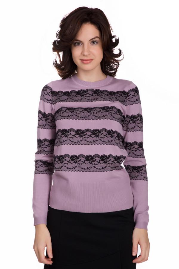 Пуловер PezzoПуловеры<br>Стильный женский пуловер от бренда Pezzo сиреневого цвета с черными элементами. Данное изделие состоит из вискозы и нейлона. Эту модель можно носить осенью или весной. Пуловер свободного кроя. Украшен черными кружевными узорами. Отличная идея для праздничного мероприятия. Хорошо будет смотреться с объемным низом.<br><br>Размер RU: 48<br>Пол: Женский<br>Возраст: Взрослый<br>Материал: вискоза 80%, нейлон 20%<br>Цвет: Чёрный