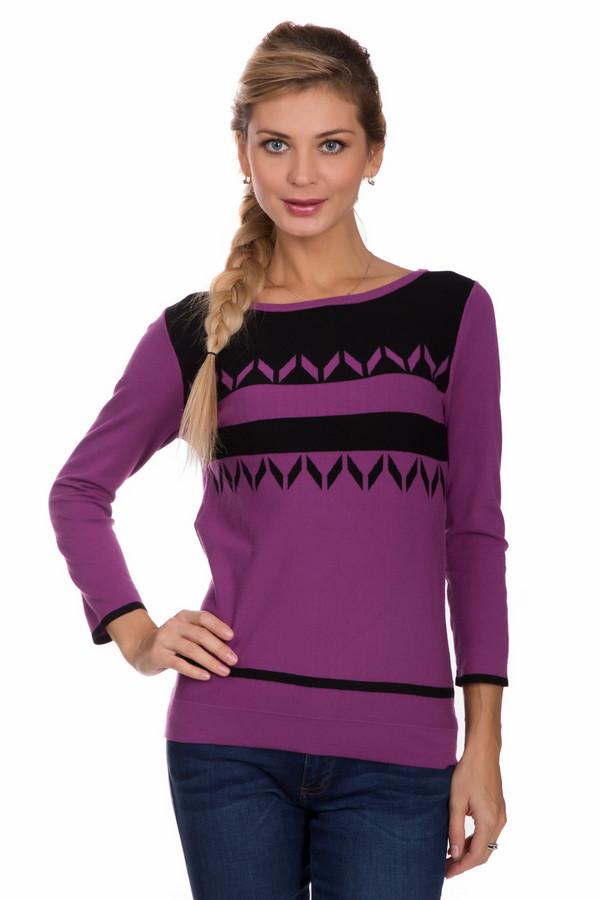 Пуловер PezzoПуловеры<br>Яркий женский пуловер от бренда Pezzo фиолетового цвета с черными элементами. Это изделие состоит из вискозы и полиэстера. Данная модель предназначена для осени или весны. Пуловер немного облегает фигуру. Рукава слегка укорочены. Дополнен черным горизонтальным узором. Дополнит простой повседневный образ.<br><br>Размер RU: 52<br>Пол: Женский<br>Возраст: Взрослый<br>Материал: вискоза 80%, полиэстер 20%<br>Цвет: Чёрный