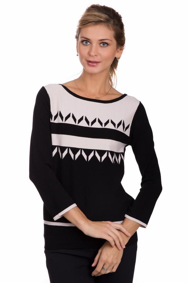 Пуловер PezzoПуловеры<br>Универсальный женский пуловер от бренда Pezzo черного цвета с бежевыми деталями. Эта модель была сделана из вискозы и полиэстера. Данное изделие предназначено для осени и весны. Пуловер свободного кроя. Рукава слегка укорочены. Украшен оригинальным орнаментом и белым вставками на рукавах. Оптимальный вариант на каждый день.<br><br>Размер RU: 44<br>Пол: Женский<br>Возраст: Взрослый<br>Материал: вискоза 80%, полиэстер 20%<br>Цвет: Бежевый