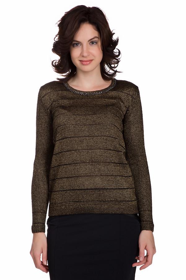 Пуловер PezzoПуловеры<br>Оригинальный женский пуловер от бренда Pezzo золотистого цвета с черными деталями. Это изделие состоит из полиэстера, акрила и металла. Такая вещь создана для осеннего и весеннего сезонов. Пуловер свободного кроя. Дополнен черными горизонтальными вставками. Это идеальный вариант для праздничного мероприятия.<br><br>Размер RU: 50<br>Пол: Женский<br>Возраст: Взрослый<br>Материал: полиэстер 72%, акрил 26%, металл 2%<br>Цвет: Чёрный
