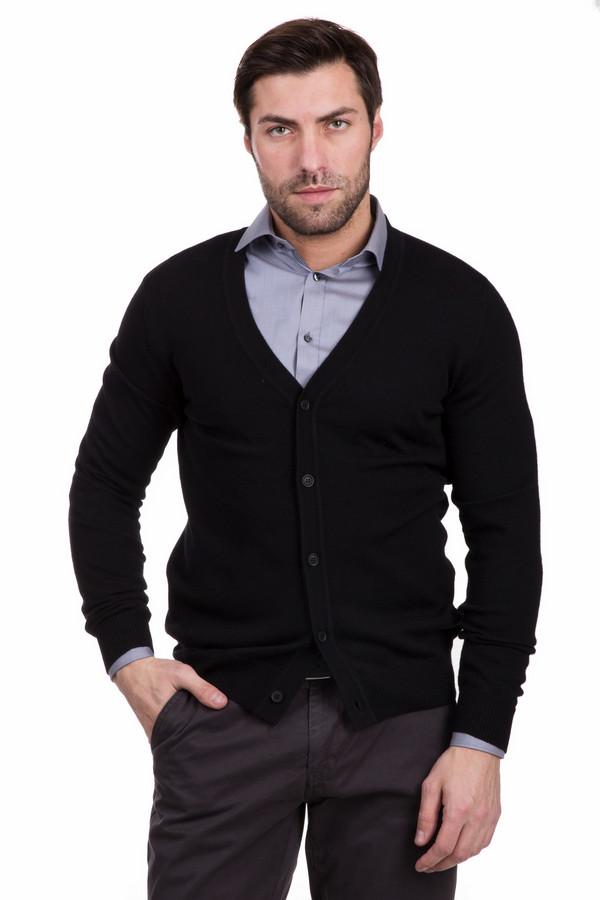 Кардиган PezzoКардиганы<br>Эффектный мужской кардиган Pezzo черного цвета. Модель изготовлена из чистой шерсти. В весенний или осенний сезон будет наиболее удачным выбором. Кардиган хорошо дополнит черные джинсы или классические брюки, также лучше будет сочетаться с белыми или светлыми мужскими рубашками. Дополнено изделие застежкой на пяти пуговицах.<br><br>Размер RU: 52<br>Пол: Мужской<br>Возраст: Взрослый<br>Материал: шерсть 100%<br>Цвет: Чёрный