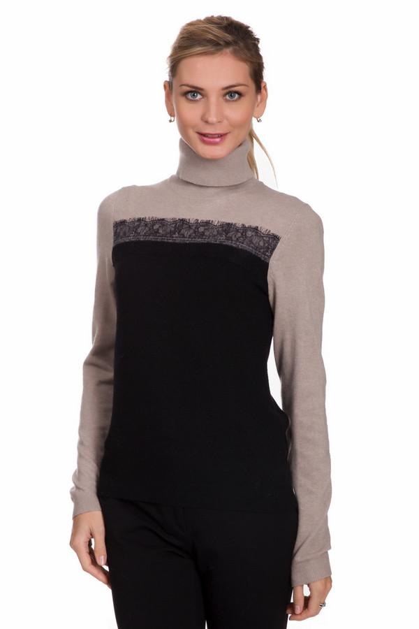 Пуловер PezzoПуловеры<br>Элегантный женский пуловер от бренда Pezzo черного и бежевого цветов. Данная модель состоит из вискозы, хлопка, кашемира, полиамида и шерсти. Это изделие создано для холодной зимней погоды. Пуловер снизу сделан в черном цвете, сверху - в бежевом. Дополнен воротом на шее. Украшен кружевной вставкой.<br><br>Размер RU: 42<br>Пол: Женский<br>Возраст: Взрослый<br>Материал: вискоза 33%, полиамид 23%, шерсть 20%, хлопок 20%, кашемир 4%<br>Цвет: Разноцветный