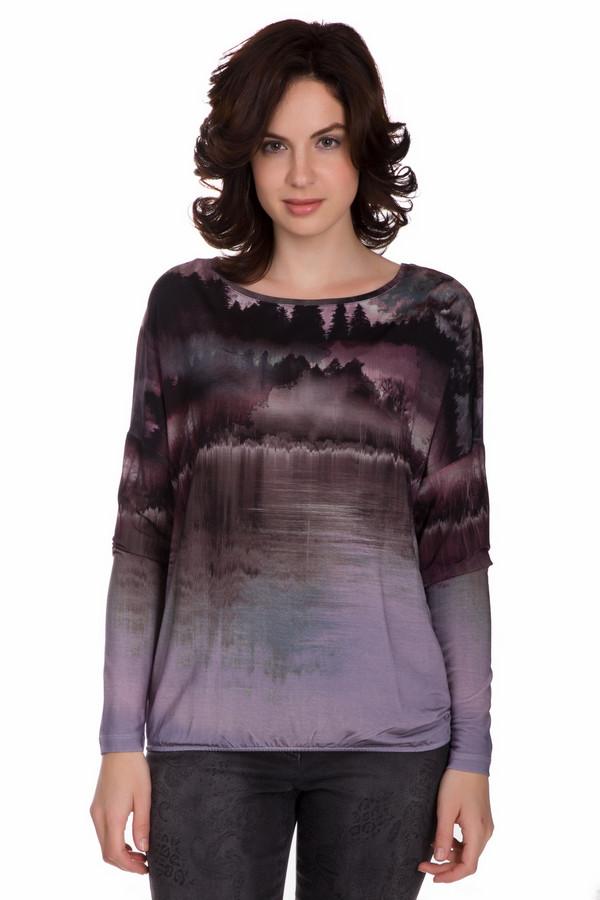 Блузa LerrosБлузы<br>Оригинальная женская блуза Lerros черного цвета с белыми, розовыми, сиреневыми и фиолетовыми деталями. Это изделие состоит из вискозы и эластана. Данная модель предназначена для осени и весны. Блуза свободного кроя. Дополнена резинкой снизу. Украшена темным рисунком по центру. Отличный вариант на каждый день.<br><br>Размер RU: 48<br>Пол: Женский<br>Возраст: Взрослый<br>Материал: эластан 8%, вискоза 92%<br>Цвет: Разноцветный