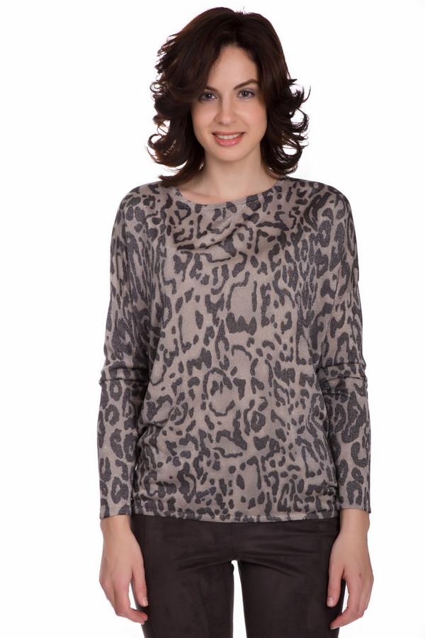 Пуловер MonariПуловеры<br>Утонченный женский пуловер Monari бежевого цвета с черными элементами. Это изделие состоит из вискозы и металла. Данная модель предназначена для осени и весны. Пуловер свободного кроя. Дополнен крупным леопардовым рисунком. Лучше всего будет сочетаться с узким и однотонным низом. Прекрасное решение на каждый день.<br><br>Размер RU: 42<br>Пол: Женский<br>Возраст: Взрослый<br>Материал: вискоза 77%, металл 23%<br>Цвет: Чёрный