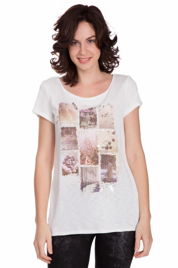 Футболка Tom TailorФутболки<br>Оригинальная женская футболка Tom Tailor белого цвета с розовыми, коричневыми и фиолетовыми деталями. Это изделие состоит из вискозы и полиэстера. Такую вещь нужно носить в летний сезон. Футболка свободного кроя. Украшена рисунком по центру и блестящими вкраплениями. Отлично будет смотреться с узким низом.<br><br>Размер RU: 42-44<br>Пол: Женский<br>Возраст: Взрослый<br>Материал: полиэстер 50%, вискоза 50%<br>Цвет: Разноцветный