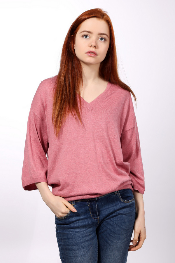 Пуловер Tom TailorПуловеры<br>Элегантная женская блуза Tom Tailor розового цвета. Это изделие состоит из хлопка и вискозы. Такую вещь нужно носить осенью и весной. Пуловер свободного кроя. Рукава укороченные. Дополнен V-образным вырезом. Добавит повседневному образу романтичности и утонченности. Можно сочетать с брюками разных фасонов и расцветок.<br><br>Размер RU: 40-42<br>Пол: Женский<br>Возраст: Взрослый<br>Материал: хлопок 60%, вискоза 40%<br>Цвет: Розовый