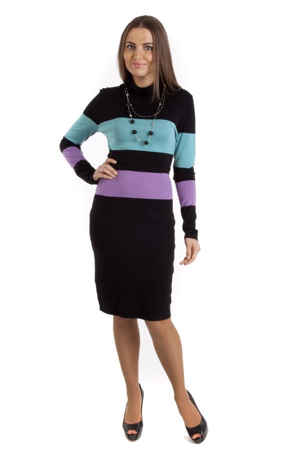 Платье PezzoПлатья<br>Теплое платье Pezzo черного цвета прилегающего кроя с горизонтальными полосками голубого и сиреневого цвета. Изделие дополнено: воротником-стойкой и длинными рукавами. Длина платья-миди.<br><br>Размер RU: 50<br>Пол: Женский<br>Возраст: Взрослый<br>Материал: вискоза 82%, нейлон 18%<br>Цвет: Разноцветный