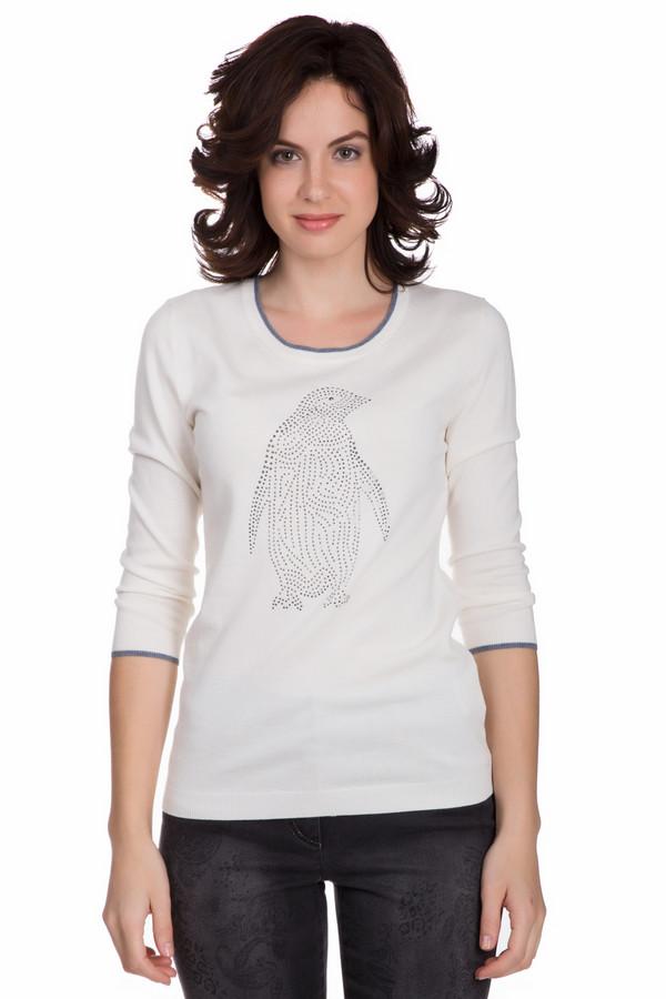 Пуловер PezzoПуловеры<br>Интересный женский пуловер от бренда Pezzo белого цвета с серыми деталями. Это изделие состоит из вискозы, нейлона и шерсти. Такая вещь рассчитана на осень или весну. Пуловер немного облегает фигуру. Украшен изображением пингвина из серебристых камней по центру и на рукавах серыми вставками. Рукава немного укороченные. Можно носить с любым низом. Подобная модель подойдет тем кому нравятся оригинальные детали в одежде.<br><br>Размер RU: 42<br>Пол: Женский<br>Возраст: Взрослый<br>Материал: вискоза 46%, шерсть 19%, нейлон 35%<br>Цвет: Серый