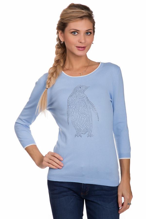 Пуловер PezzoПуловеры<br>Практичный женский пуловер от бренда Pezzo голубого цвета с серыми деталями. Данное изделие состоит из вискозы, нейлона и шерсти. Такая вещь рассчитана на осень или весну. Пуловер немного облегает фигуру. Украшен изображением пингвина из серебристых камней по центру, на вороте и на рукавах белыми вставками. Рукава немного укороченные. Добавит в образ нежности и легкости.<br><br>Размер RU: 44<br>Пол: Женский<br>Возраст: Взрослый<br>Материал: вискоза 46%, шерсть 19%, нейлон 35%<br>Цвет: Белый