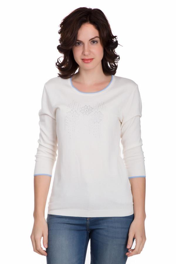 Пуловер PezzoПуловеры<br>Практичный женский пуловер от бренда Pezzo белого цвета с серебристыми и голубыми деталями. Данное изделие состоит из вискозы, нейлона и шерсти. Такая вещь рассчитана на осень и весну. Пуловер свободного кроя. Дополнен голубыми вставками на вороте и рукавах и рисунком из серебристых камней по центру. Это практичное и стильное решение.<br><br>Размер RU: 52<br>Пол: Женский<br>Возраст: Взрослый<br>Материал: вискоза 46%, шерсть 19%, нейлон 35%<br>Цвет: Голубой