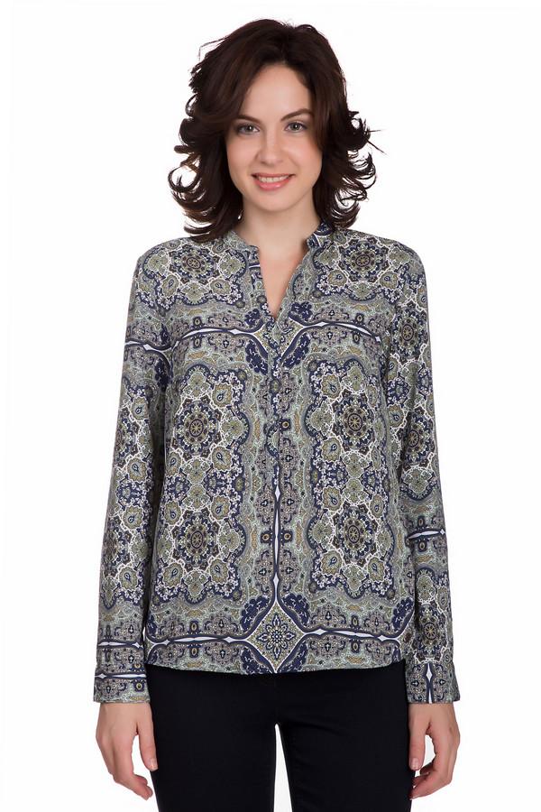 Блузa s.OliverБлузы<br>Интересная женская блуза s.Oliver синего цвета с черными, белыми, желтыми и зелеными деталями. Данная модель состоит полностью из полиэстера. Это изделие рассчитано на осень и весну. Блуза свободного кроя. Украшена красивым рисунком. Спинка длиннее передней части. Стильное решение для любого повода.<br><br>Размер RU: 40<br>Пол: Женский<br>Возраст: Взрослый<br>Материал: полиэстер 100%<br>Цвет: Разноцветный