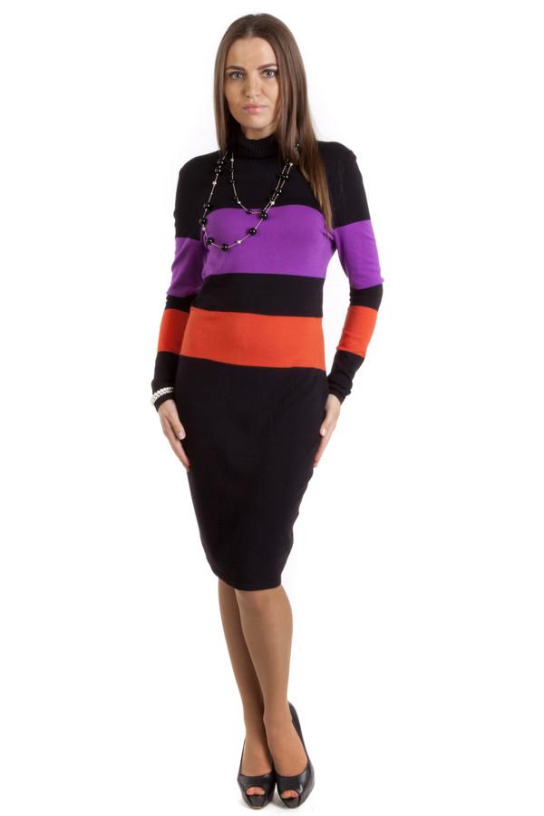 Платье PezzoПлатья<br>Теплое платье Pezzo черного цвета прилегающего кроя с горизонтальными полосками фиолетового и оранжевого цвета. Изделие дополнено: воротником-стойкой и длинными рукавами. Длина платья-миди.<br><br>Размер RU: 48<br>Пол: Женский<br>Возраст: Взрослый<br>Материал: вискоза 82%, нейлон 18%<br>Цвет: Разноцветный