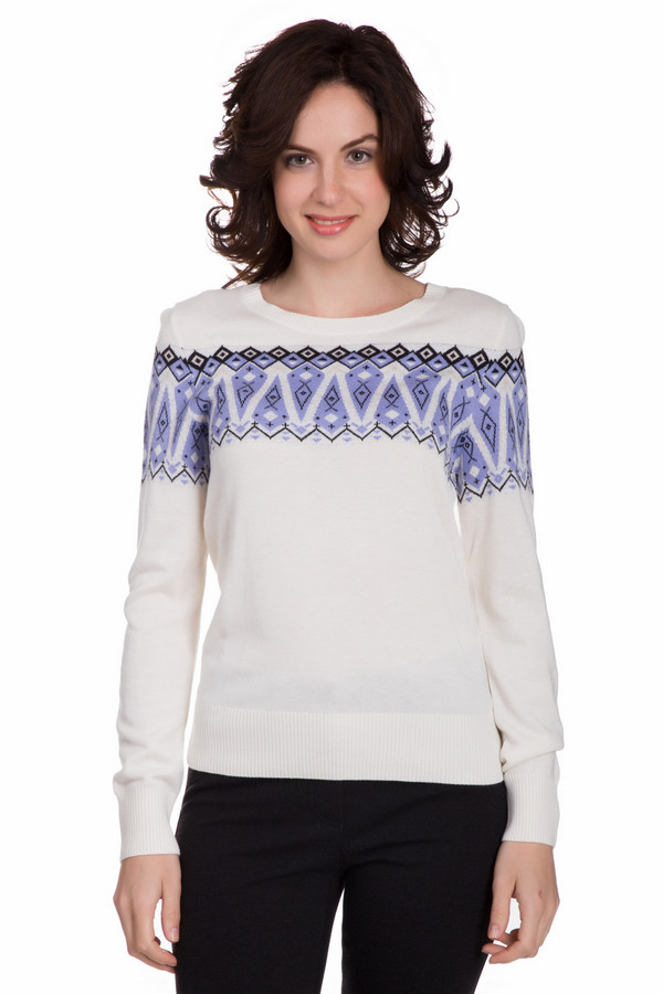 Пуловер PezzoПуловеры<br>Оригинальный женский пуловер от бренда Pezzo белого цвета с черными и сиреневыми деталями. Это изделие состоит из вискозы, шерсти и полиамида. Такая модель рассчитана на осень и весну. Пуловер свободного кроя. Украшен разноцветным орнаментом на груди. Можно сочетать с чем угодно. Стильное решение для холодной поры года.<br><br>Размер RU: 46<br>Пол: Женский<br>Возраст: Взрослый<br>Материал: вискоза 55%, полиамид 22%, шерсть 23%<br>Цвет: Разноцветный