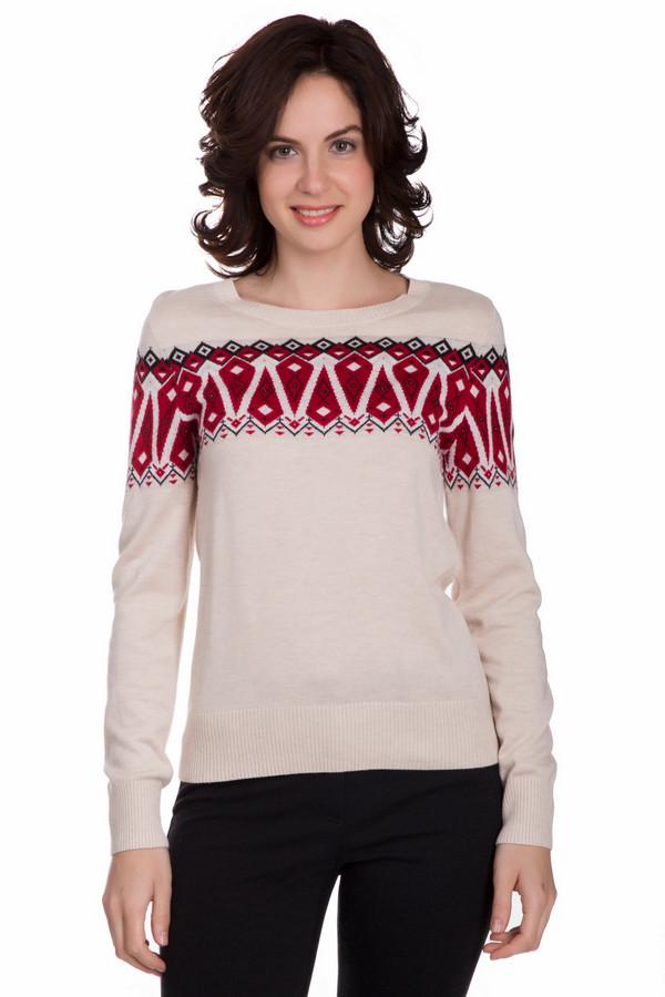 Пуловер PezzoПуловеры<br>Стильный женский пуловер от бренда Pezzo бежевого цвета с черными и красными деталями. Данное изделие состоит из вискозы, шерсти и полиамида. Такая модель рассчитана на осень или весну. Пуловер не облегает фигуру. Украшен разноцветным орнаментом на груди. Можно сочетать с чем угодно. Оптимальный вариант для прохладной погоды.<br><br>Размер RU: 46<br>Пол: Женский<br>Возраст: Взрослый<br>Материал: вискоза 55%, полиамид 22%, шерсть 23%<br>Цвет: Разноцветный