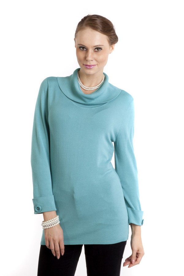 Пуловер PezzoПуловеры<br>Женственный пуловер Pezzo выполнен в небесно-голубом цвете. Изделие дополнено воротником-хомут и укороченными рукавами. Манжеты декорированы фурнитурой в цвет изделия.<br><br>Размер RU: 50<br>Пол: Женский<br>Возраст: Взрослый<br>Материал: вискоза 82%, нейлон 18%<br>Цвет: Голубой