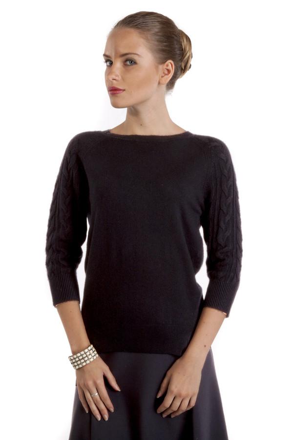 Пуловер PezzoПуловеры<br>Элегантный черный пуловер Pezzo. Изделие дополнено вырезом-лодочка и укороченными рукавами-реглан. Рукава декорированы фактурным узором. Манжеты и нижний кант оформлены трикотажной резинкой. По бокам изделия разрезы.<br><br>Размер RU: 48<br>Пол: Женский<br>Возраст: Взрослый<br>Материал: вискоза 75%, шерсть 25%<br>Цвет: Чёрный