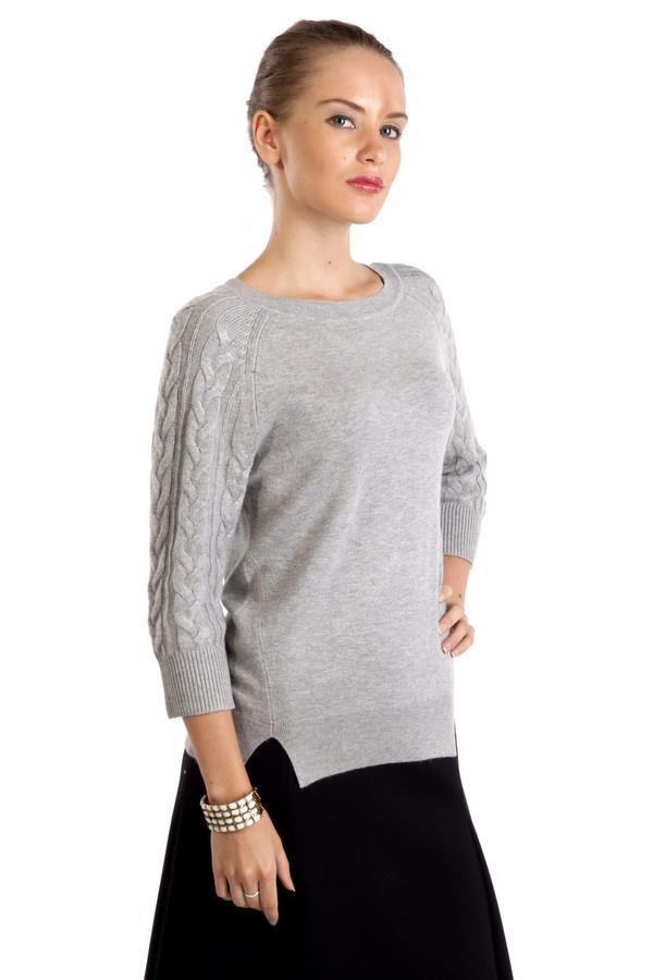 Пуловер PezzoПуловеры<br>Элегантный серый пуловер Pezzo. Изделие дополнено вырезом-лодочка и укороченными рукавами-реглан. Рукава декорированы фактурным узором. Манжеты и нижний кант оформлены трикотажной резинкой. По бокам изделия разрезы.<br><br>Размер RU: 48<br>Пол: Женский<br>Возраст: Взрослый<br>Материал: вискоза 75%, шерсть 25%<br>Цвет: Серый