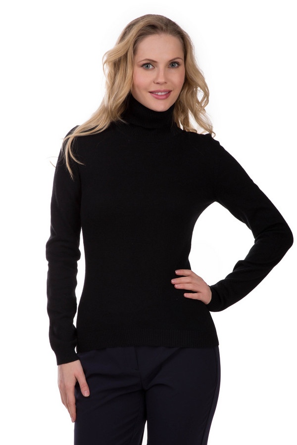 Пуловер PezzoПуловеры<br>Уютный женский пуловер Pezzo черного цвета. Изготовлен из сложного сочетания вискозы, полиамида, шерсти, хлопка и кашемира. Рассчитан на весенний и осенний сезон. Модель с длинными рукавами, прикрывает горло. Дополнена резинками на манжетах и по низу изделия. Подойдет для всех, кто любит строгий и сдержанный стиль.<br><br>Размер RU: 48<br>Пол: Женский<br>Возраст: Взрослый<br>Материал: вискоза 33%, полиамид 23%, шерсть 20%, хлопок 20%, кашемир 4%<br>Цвет: Чёрный