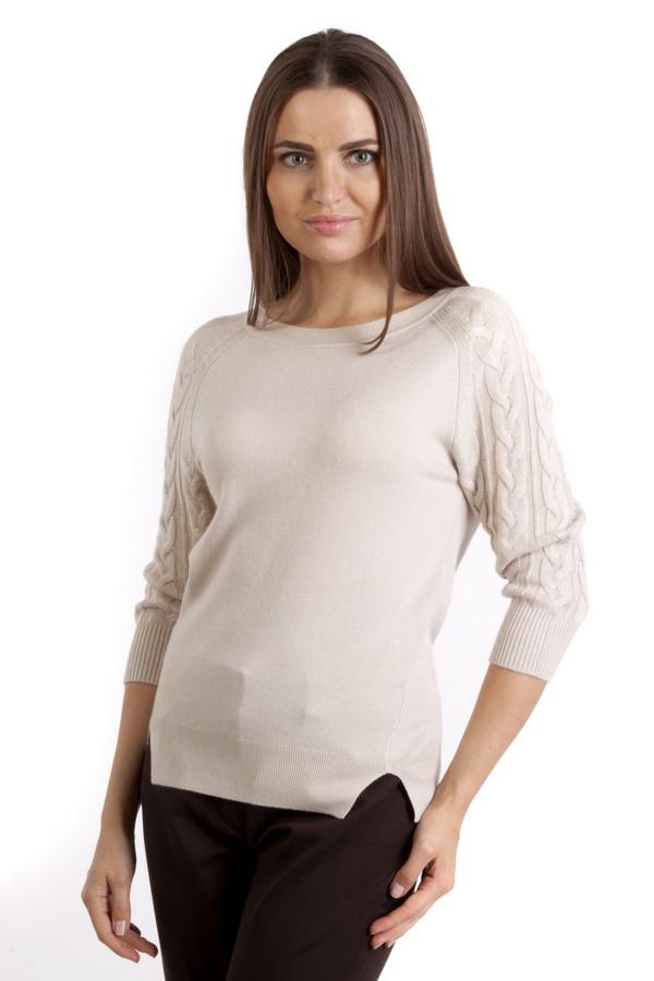 Пуловер PezzoПуловеры<br>Элегантный бежевый пуловер Pezzo. Изделие дополнено вырезом-лодочка и укороченными рукавами-реглан. Рукава декорированы фактурным узором. Манжеты и нижний кант оформлены трикотажной резинкой. По бокам изделия разрезы.<br><br>Размер RU: 50<br>Пол: Женский<br>Возраст: Взрослый<br>Материал: вискоза 75%, шерсть 25%<br>Цвет: Бежевый