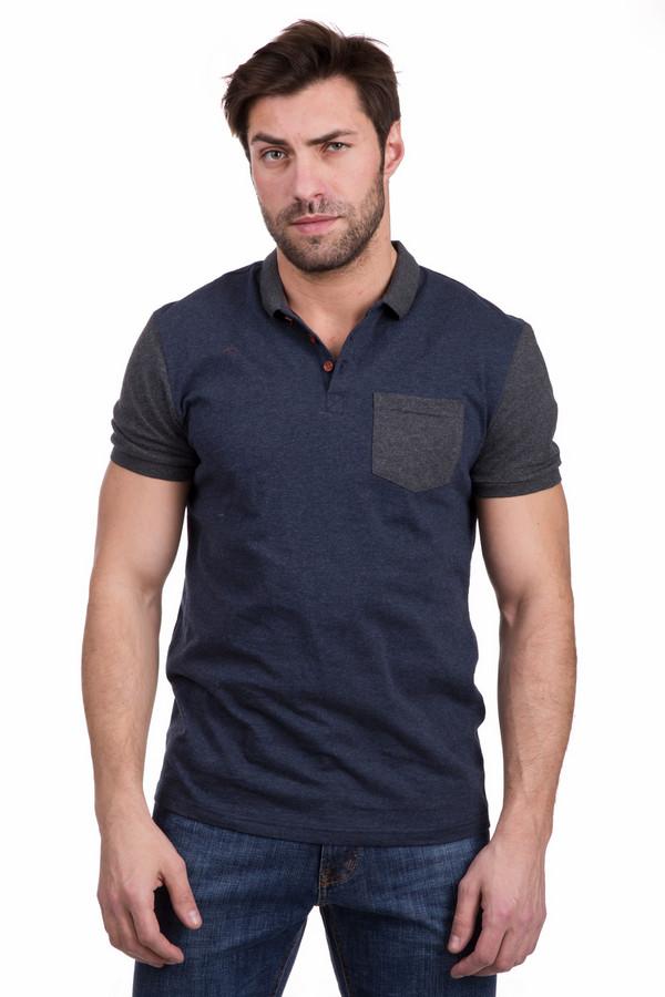 Поло PezzoПоло<br>Практичная мужская рубашка поло Pezzo синего цвета с серыми элементами. Изготовлена полностью из хлопка. Наиболее подходит для летнего сезона. Декорирована короткими рукавами, нагрудным кармашком и отложным воротником серого цвета. Застегивается на три оранжевые пуговицы. Подходит всем, кто предпочитает стиль кэжуал.<br><br>Размер RU: 48<br>Пол: Мужской<br>Возраст: Взрослый<br>Материал: хлопок 100%<br>Цвет: Серый