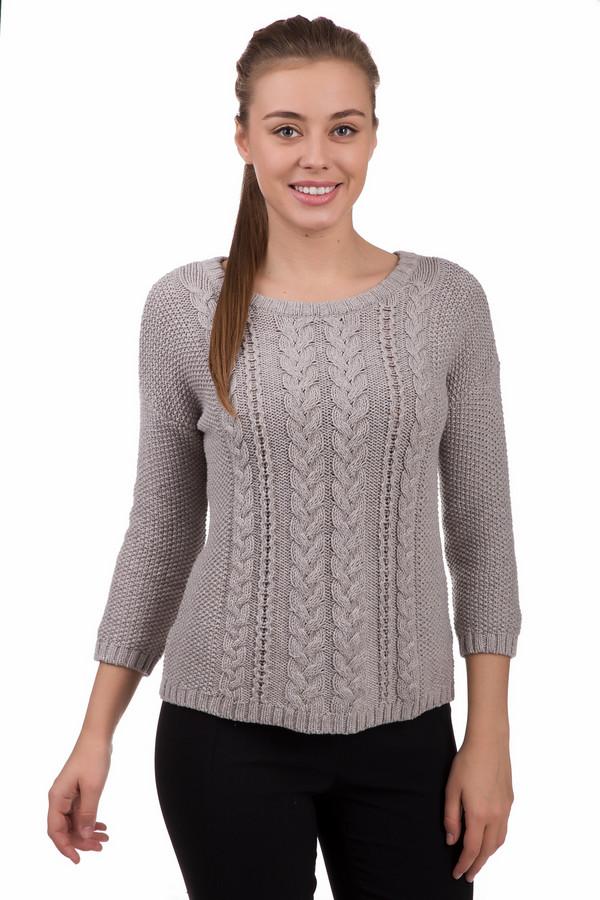 Пуловер OuiПуловеры<br>Нежный женский пуловер Oui серого цвета. Изготовлен из стопроцентного хлопка. Подходит для весеннего и осеннего сезонов. Спереди изделие декорировано узором, имитирующим вязанные косы различной ширины. Сзади на уровне шеи пуловер завязывается серой лентой. Нежная, женственная модель подходит для повседневной носки.<br><br>Размер RU: 44<br>Пол: Женский<br>Возраст: Взрослый<br>Материал: хлопок 100%<br>Цвет: Серый