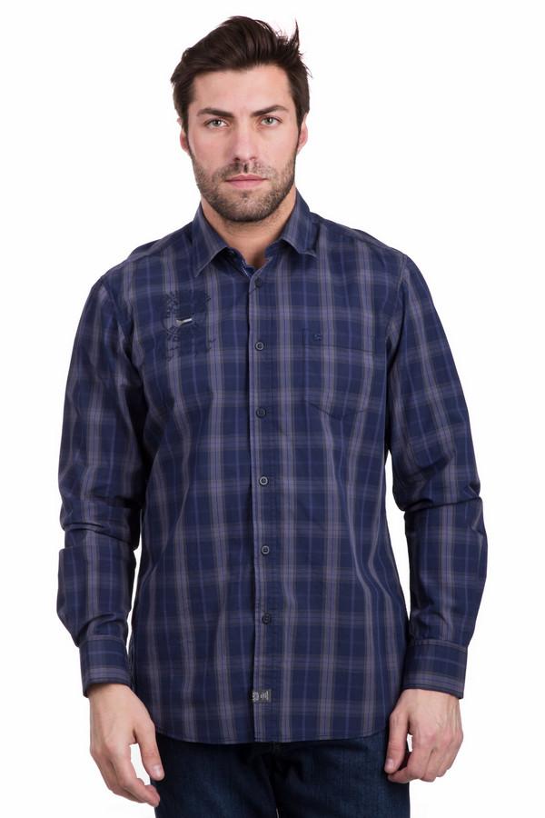 Рубашка с длинным рукавом LerrosДлинный рукав<br>Строгая мужская рубашка с длинным рукавом Lerros синего цвета в бежево-коричневую клетку. Изделие изготовлено из хлопка. Удобно в носке в весенний и осенний сезон. Модель имеет широкие манжеты на пуговках, отложной воротник, нагрудный карман. Рубашка декорирована черной вышивкой на груди справа.<br><br>Размер RU: 46-48<br>Пол: Мужской<br>Возраст: Взрослый<br>Материал: хлопок 100%<br>Цвет: Разноцветный