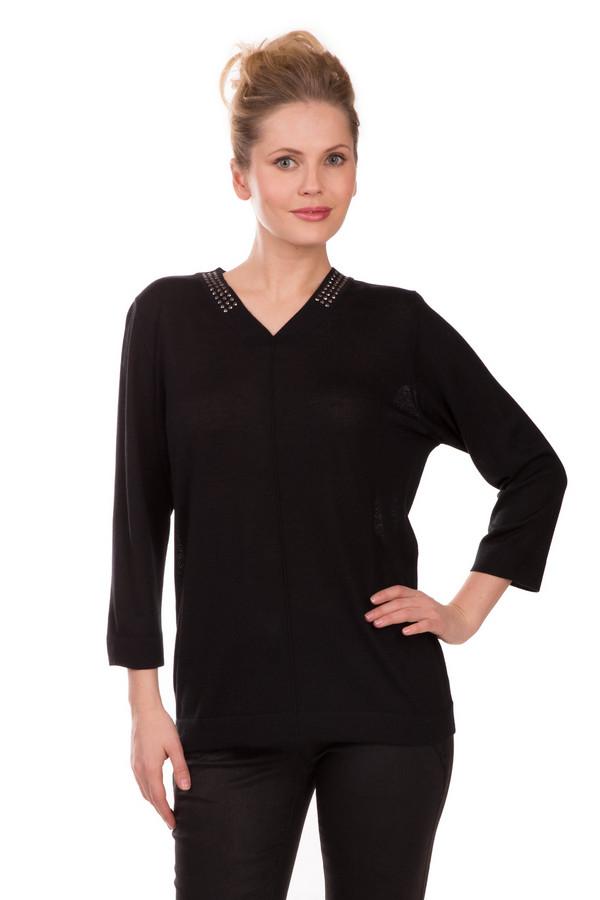 Пуловер Rabe collectionПуловеры<br>Утонченный женский пуловер Rabe collection черного цвета. Изделие выполнено из материи, содержащей шерсть и полиакрил. Подходит для демисезонной носки. У модели рукав три четверти, V-образный, неглубокий вырез. Модель дополнена вертикальным декоративным швом спереди, а также - тремя рядами страз по воротнику.<br><br>Размер RU: 50<br>Пол: Женский<br>Возраст: Взрослый<br>Материал: шерсть 50%, полиакрил 50%<br>Цвет: Чёрный