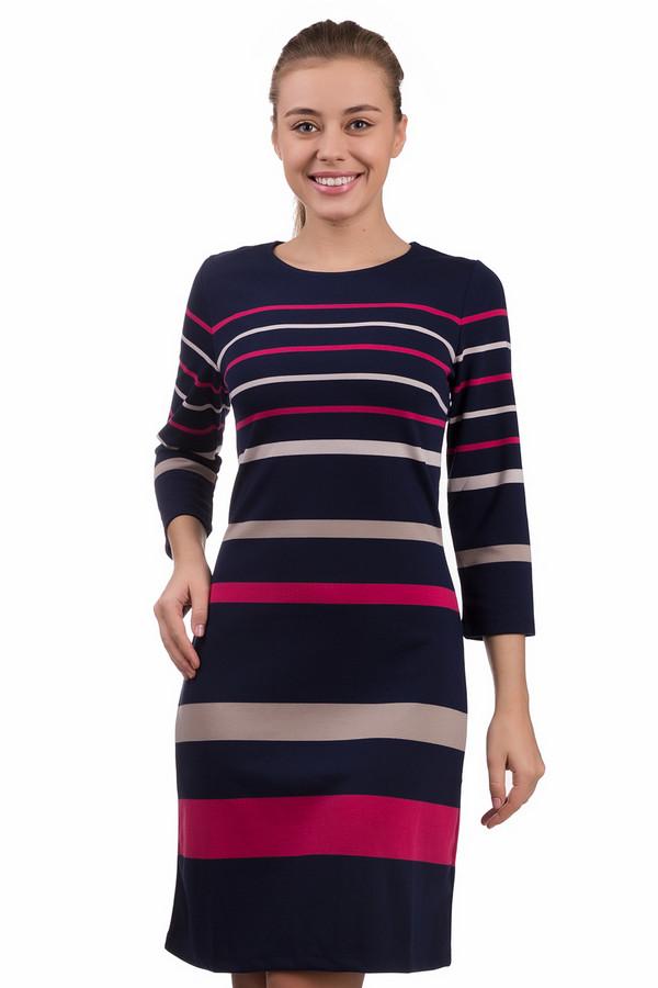 Платье PezzoПлатья<br>Платье Pezzo с горизонтальными полосками различной ширины. Темно-синий фон, ярко-розовые и бежевые полоски – узор строгий и вместе с тем необычный. В этом платье нельзя остаться незамеченной. Модель с рукавом три четверти и длиной до колена подойдет для разных сезонов. Ее можно смело носить в офис или надевать для визита в кафе или к друзьям. Красивые туфли на высоком каблуке или обувь на низком ходу станут отличным дополнением этого платья.<br><br>Размер RU: 46<br>Пол: Женский<br>Возраст: Взрослый<br>Материал: эластан 3%, вискоза 51%, полиэстер 46%<br>Цвет: Разноцветный