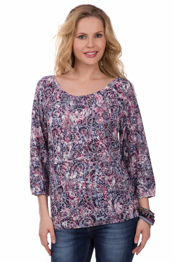 Блузa LerrosБлузы<br>Женская разноцветная блуза Lerros собрала в своих пестрых узорах такое беспроигрышное сочетание цветов, как чёрный, серый, белый, бордовый, сиреневый, фиолетовый. Состав изделия – полиэстер и хлопок. Свободный фасон великолепно скроет недостатки фигуры, если требуется, а вырез «мыс» визуально удлинит шею. Модель дополнена свободными рукавами. Изделие в романтическом стиле, придаст образу больше женственности.<br><br>Размер RU: 46<br>Пол: Женский<br>Возраст: Взрослый<br>Материал: полиэстер 50%, хлопок 50%<br>Цвет: Разноцветный