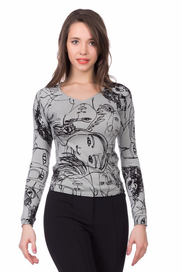 """Пуловер LerrosПуловеры<br>Креативный серый пуловер «Lerros"""" украшенный рисунком в виде множества лиц - для женщин, которые не боятся экспериментировать со стилем. Смелое дизайнерское решение. Вместе с тем, изделие дополнено довольно скромным вырезом «мыс». Материал – 100% хлопок. Приталенный фасон подчеркивает достоинства фигуры. Предназначен для ношения в демисезон.<br><br>Размер RU: 46<br>Пол: Женский<br>Возраст: Взрослый<br>Материал: хлопок 100%<br>Цвет: Чёрный"""