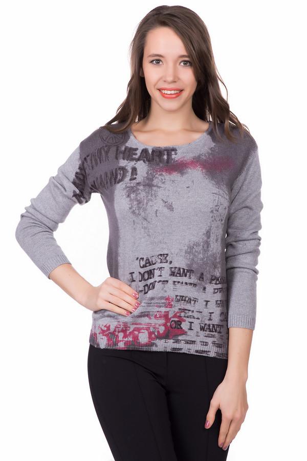 Пуловер PassportПуловеры<br>Пуловер Passport серого цвета. Стильный принт спереди – это отличный акцент любого модного образа. Свободный силуэт, удобная длина, округлый вырез горловины – все особенности этой вещи найдут множество своих почитательниц. Демисезонный пуловер из хлопка и вискозы безупречно выглядит с брюками, джинсами, стильными современными или классическими юбками.<br><br>Размер RU: 46<br>Пол: Женский<br>Возраст: Взрослый<br>Материал: вискоза 50%, хлопок 50%<br>Цвет: Разноцветный