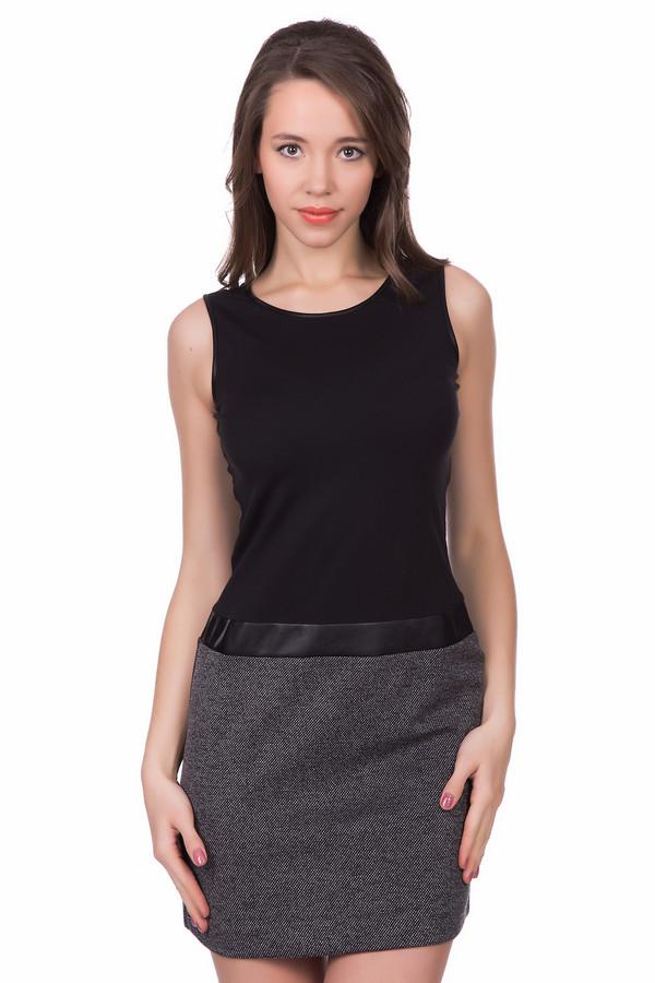 Платье Tom TailorПлатья<br>Платье Tom Tailor черно-серое. Такая модель удобна и практична. Фасон без рукавов, благодаря чему открываются ваши красивые плечи. Состав ткани: вискоза, эластан, полиэстер. Разные виды фактур материалов создают безупречный образ. Носить это платье можно летом и теплой весной (осенью).<br><br>Размер RU: 44<br>Пол: Женский<br>Возраст: Взрослый<br>Материал: эластан 5%, вискоза 65%, полиэстер 30%<br>Цвет: Серый