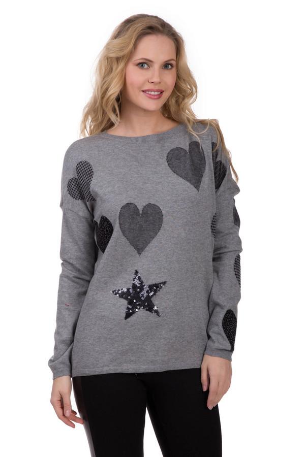 Пуловер OuiПуловеры<br>1. Простой и одновременно оригинальный пуловер Oui серого цвета. Изделие выполнено на 100% из натурального хлопка. Незаменимая вещь при ношении в межсезонье. Длинный рукав выручит в прохладную погоду. Изделие дополнено декоративными заплатками в виде сердечек и звездочки с пайетками, что не дает ему быть излишне строгим. Можно сочетать как со строгим черным «низом», так и с яркими юбками, брюками и аксессуарами.<br><br>Размер RU: 46<br>Пол: Женский<br>Возраст: Взрослый<br>Материал: хлопок 100%<br>Цвет: Чёрный
