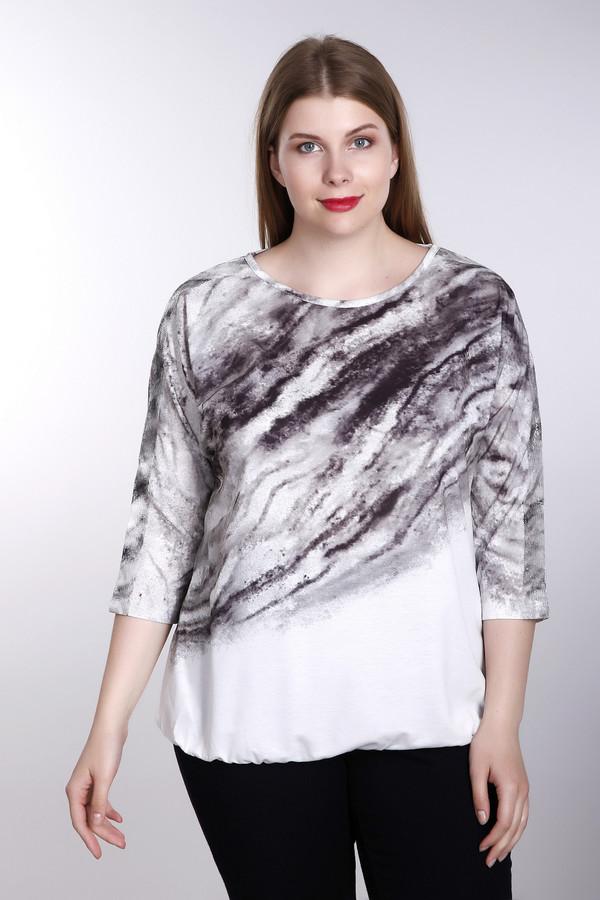Футболка Betty BarclayФутболки<br>Замечательная женская футболка Betty Barclaу белого цвета с оригинальным узором по диагонали, имитирующим мрамор. За выносливость и качество изделия отвечают материалы эластан и полиэстер в его составе. Изделие дополнено рукавами 3\4, что позволяет носить футболку даже когда прохладно. Сочетается практически с любым «низом», в особенности хороша с брюками. Демисезон.