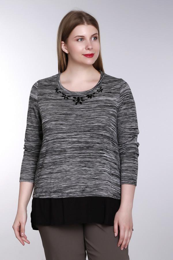 Пуловер SamoonПуловеры<br>Пуловер Samoon черно-серый. Красивая универсальная ткань и украшение на горловине – те черты, которые делают данную модель особенно привлекательной и притягательной. Советуем сочетать ее с однотонными юбками, брюками и джинсами разного кроя. Состав ткани: полиэстер плюс эластан. Модель с длинным рукавом можно носить в любое время года.<br><br>Размер RU: 52<br>Пол: Женский<br>Возраст: Взрослый<br>Материал: эластан 5%, полиэстер 95%<br>Цвет: Чёрный