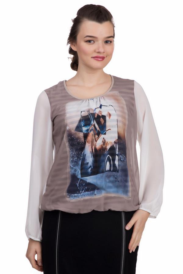 Блузa Frank WalderБлузы<br>Блузa Frank Walder женская. Красивая модель с необычным принтом. Блуза двухслойная, низ – это ткань в полоску, верх – легкая невесомая ткань. Сзади модель присборена вверху. Красивое сочетание цветов: белый, черный, бежевый, синий. Это демисезонное изделие из 100%-ного полиэстера. Отлично комбинируется с юбками и брюками различного кроя.<br><br>Размер RU: 54<br>Пол: Женский<br>Возраст: Взрослый<br>Материал: полиэстер 100%<br>Цвет: Разноцветный