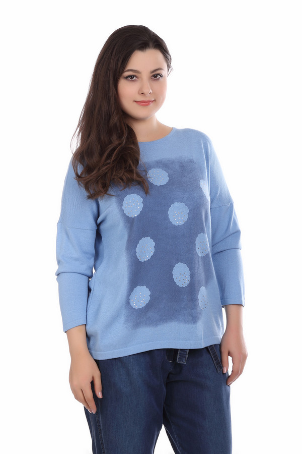 Пуловер Eugen KleinПуловеры<br>Пуловер Eugen Klein сине-голубой. Непринужденный силуэт этой модели – отличный выбор для женщин, которые превыше всего ценят комфорт и элегантность. Мягкий и гармоничный узор на лифе изделия украшен стразами. Носить такую модель можно с брюками и юбками самых разных фасонов, это демисезонная модель. Состав ткани: полиакрил, модал, эластан.