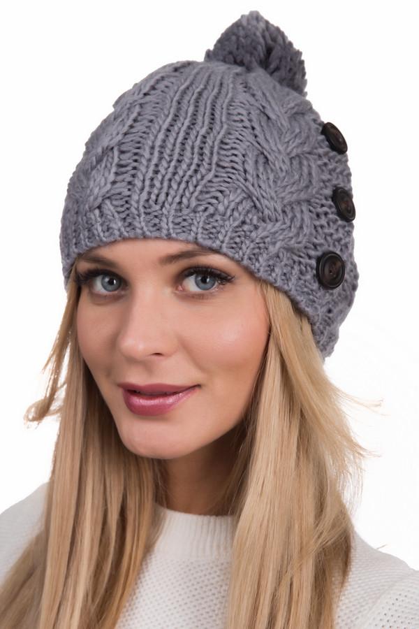 Шапка WegenerШапки<br>Вязаная женская шапка Wegener серого цвета. Модель полностью изготовлена из полиакрила и шерсти. Зимой она будет наиболее комфортной и теплой. Модель изготовлена машинной вязкой. Украшают ее широкие вязаные косы, а на макушке ее увенчивает помпон в тон. Слева она дополнена черными плоскими пуговками.<br><br>Размер RU: один размер<br>Пол: Женский<br>Возраст: Взрослый<br>Материал: шерсть 50%, полиакрил 50%, Состав_подкладка полиэстер 100%<br>Цвет: Серый