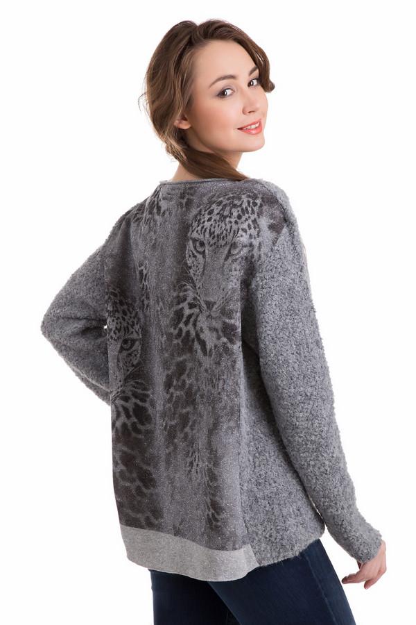 Пуловер Marc CainПуловеры<br>Стильный пуловер Marc Cain с шерстью альпака. Модель сочетает в себе разные фактуры и цветовые оттенки. Теплая объемная передняя часть дополнена блестящей спинкой со звериным принтом. Такой стильный контраст позволяет пуловеру играть самостоятельную роль в наряде. Свободный фасон и укороченная длина подойдет любому типу фигуры. Дополнить образ можно одеждой в различных стилях.<br><br>Размер RU: 48<br>Пол: Женский<br>Возраст: Взрослый<br>Материал: полиамид 5%, шерсть 24%, полиакрил 37%, альпака 34%<br>Цвет: Серый