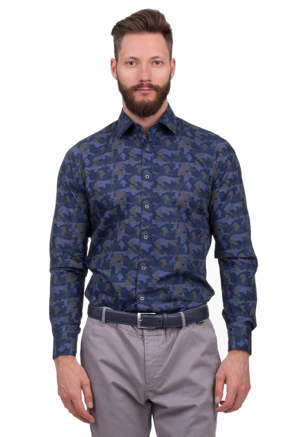 Рубашка с длинным рукавом OlympДлинный рукав<br>Оригинальная стильная рубашка в стиле хаки, темно-синих тонов. Прекрасный выбор под  джинсы , также будет отлично смотреться со светлыми  брюками  за счет контраста. Рубашка выполнена исключительно из натурального хлопка, очень приятная к телу и подойдет на любой сезон. Отложной воротник, рубашка застегивается на небольшие пуговицы вдоль планки.  body fit<br><br>Размер RU: 45-46<br>Пол: Мужской<br>Возраст: Взрослый<br>Материал: хлопок 100%<br>Цвет: Синий
