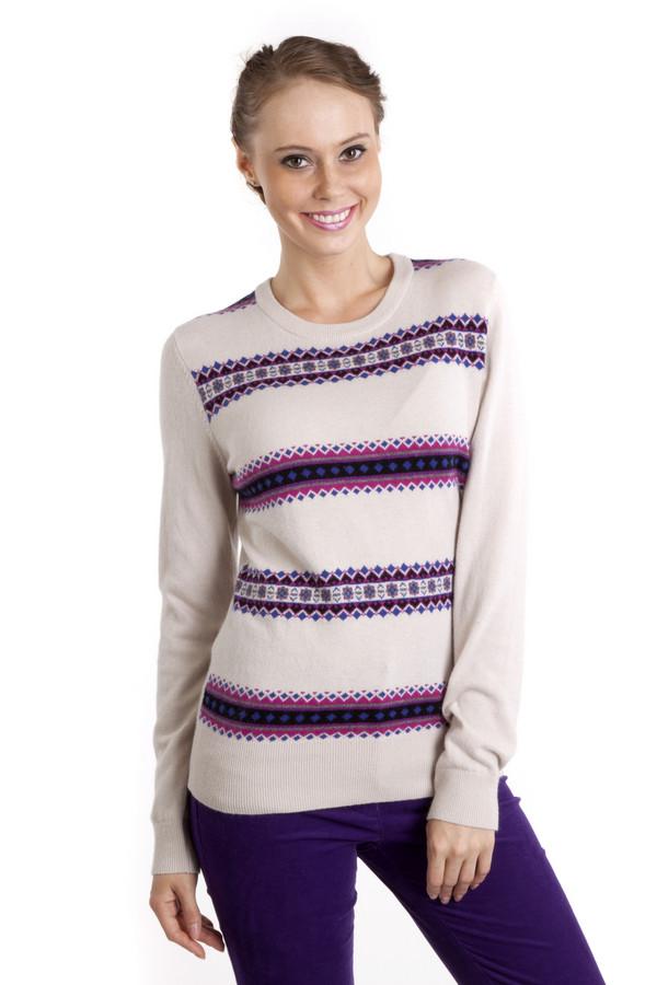 Пуловер PezzoПуловеры<br>Элегантный трикотажный пуловер Pezzo бежевого цвета приталенного кроя с скандинавским вязанным рисунком. Изделие дополнено: круглым вырезом и длинными рукавами. Ворот, манжеты и нижний кант оформлены трикотажной резинкой.<br><br>Размер RU: 50<br>Пол: Женский<br>Возраст: Взрослый<br>Материал: вискоза 33%, хлопок 18%, полиамид 23%, шерсть 18%, кашемир 4%, ангора 4%<br>Цвет: Разноцветный